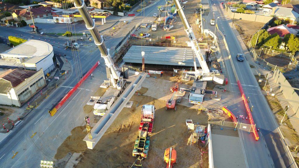 Hawker Street bridge beam lift